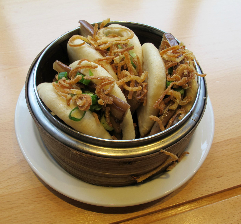 Vegan eggplant steam buns from Boke Bowl in Portland | vegetarianPDX