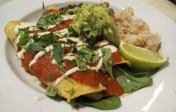 Vegan enchiladas with peppers, onions, mushrooms, and spinach at Harlow in Portland, Oregon | vegetarianPDX