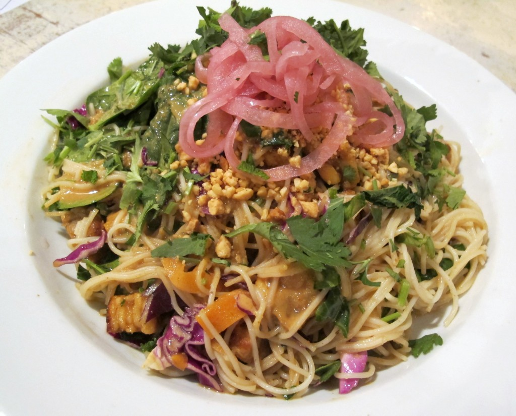 """""""Peanut salad"""" with rice noodles and peanut sauce at Harlow in Portland, Oregon 