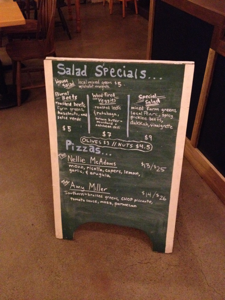 Specials board at Handsome Pizza in Portland, Oregon | vegetarianPDX