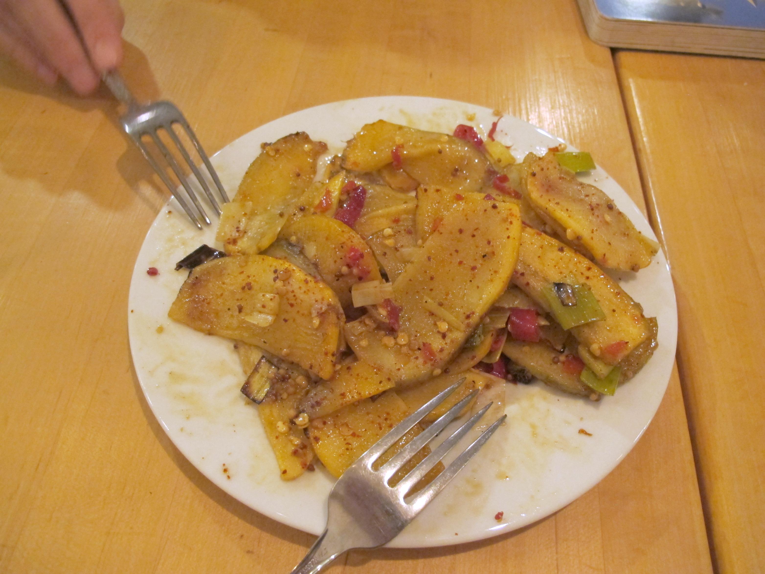Roasted leeks and rutabaga at Handsome Pizza in Portland, Oregon | vegetarianPDX