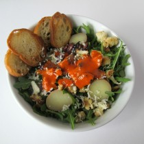 Baby arugula salad modeled after Portland Soup Company in Portland, Oregon | vegetarianPDX