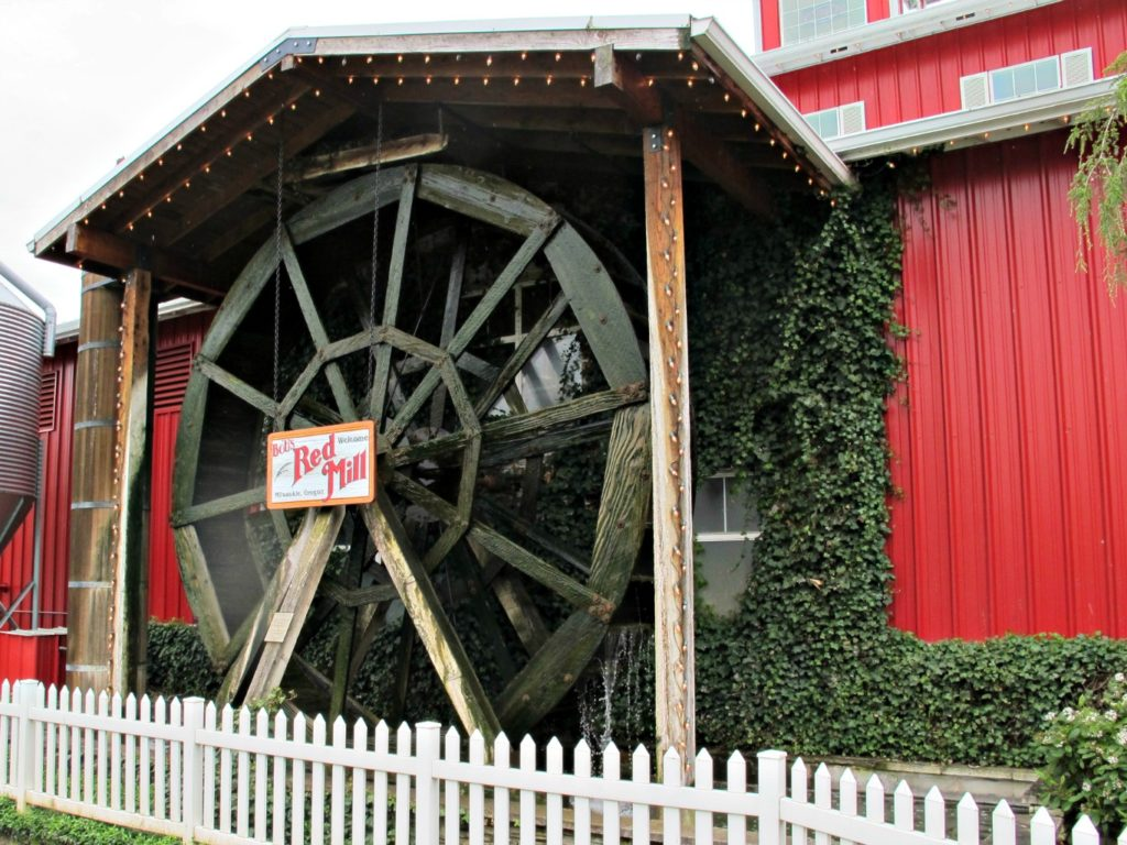 Water wheel at Bob's Red Mill store